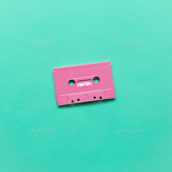 Audio cassette. Retro vibes Minimal art - Stock Photo - Images