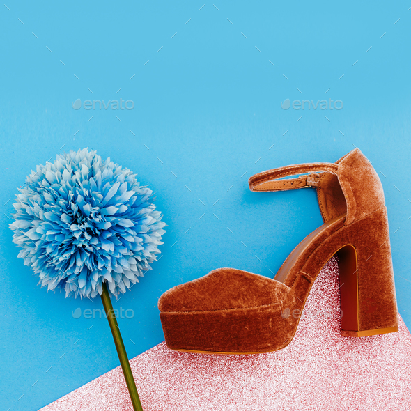 Summer style. Shoes with heels. Minimal art design - Stock Photo - Images