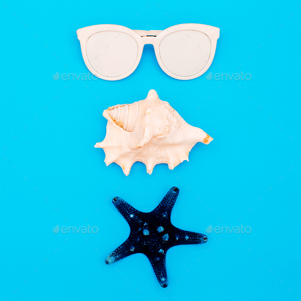 Sea set. Shells and sunglasses. Minimal design - Stock Photo - Images