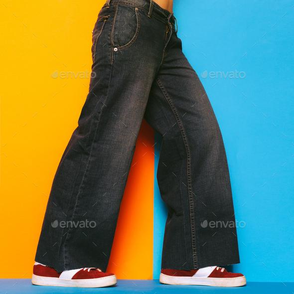 Denim Lover. Women's jeans Trendy jeans wear. Fashion concept. W - Stock Photo - Images