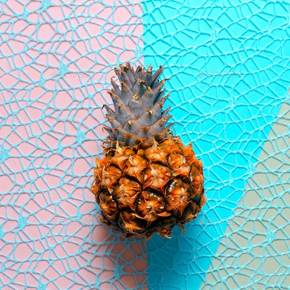 Mini pineapple on a stylish background. Minimal art - Stock Photo - Images