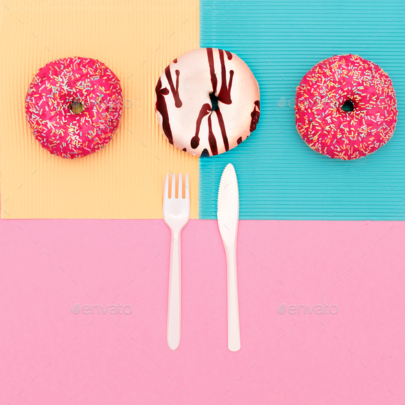 Creative set of donuts. Fast food minimal art - Stock Photo - Images