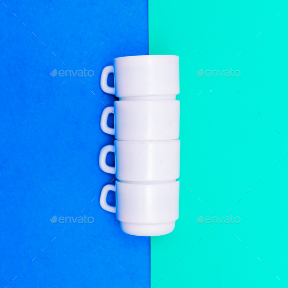 Set of coffee cups. Minimal art design - Stock Photo - Images