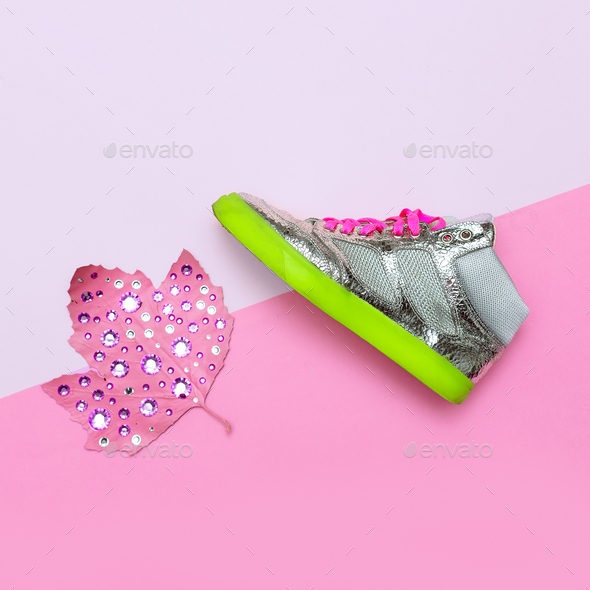 Fashionable Shoes for Girl. Sneakers. Rhinestones vibration glam - Stock Photo - Images