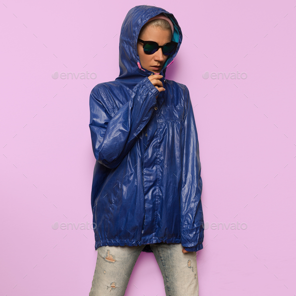 Hipster fashion model Minimal Hood Outfit Eyewear - Stock Photo - Images