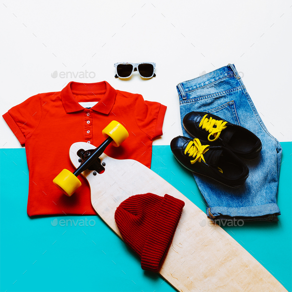 Urban style set. Jeans T-shirt glasses. Skateboard fashion. Acti - Stock Photo - Images