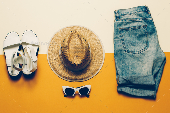 Summer outfit. Shorts Sandals hat Safari style - Stock Photo - Images