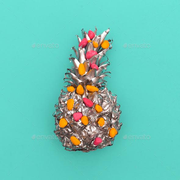 Silver Pineapple Minimal art - Stock Photo - Images