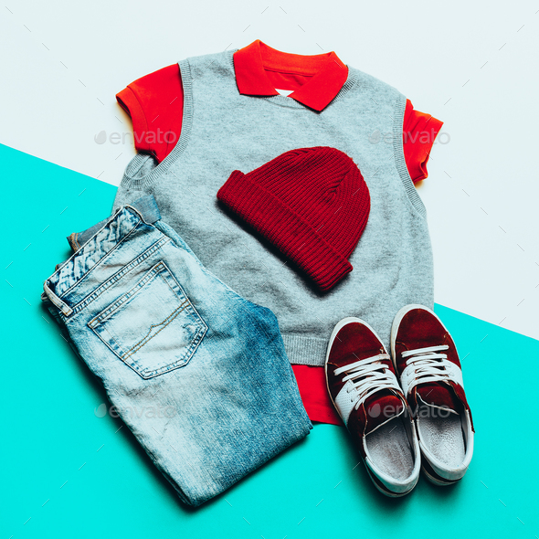 Jeans, shirt and sneakers. Cap. Urban sports fashion style - Stock Photo - Images