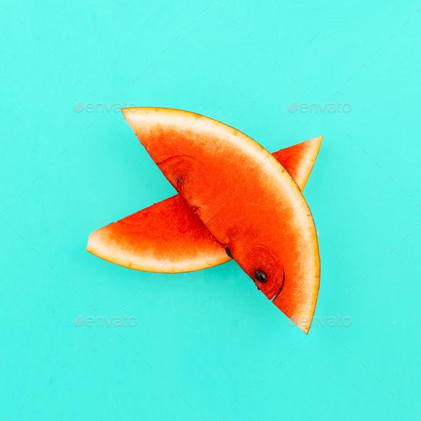 Piece of watermelon. Fresh tropical ideas. Minimal Creative art - Stock Photo - Images