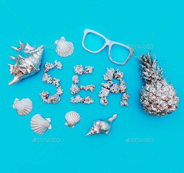 Tropical marine art set. Pineapple, seashells. Sea style - Stock Photo - Images