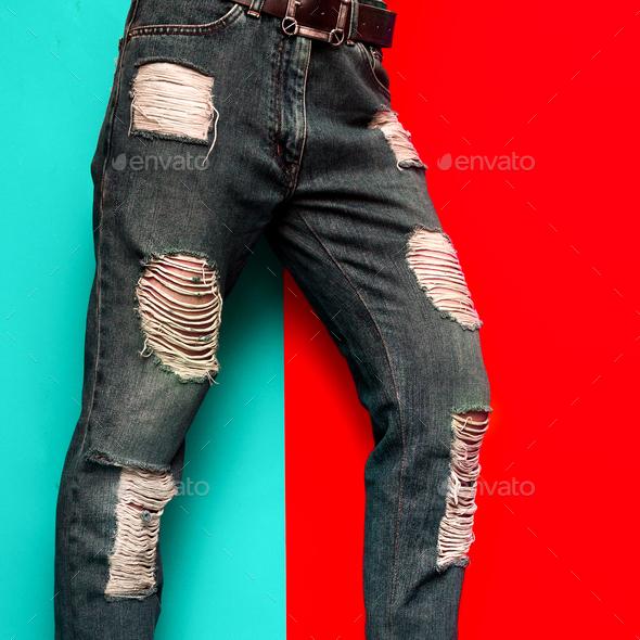 Torn Jeans Fashion Design Stylish Minimal Clothing - Stock Photo - Images