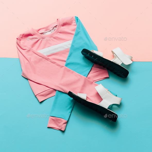 Fashionable Sports Jacket and Sandals. Pastel Summer trend. Urba - Stock Photo - Images