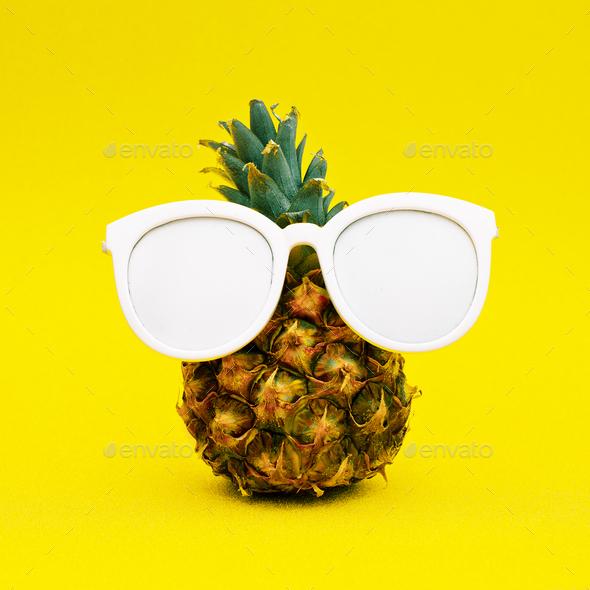 Sunny pineapple. Minimal art - Stock Photo - Images