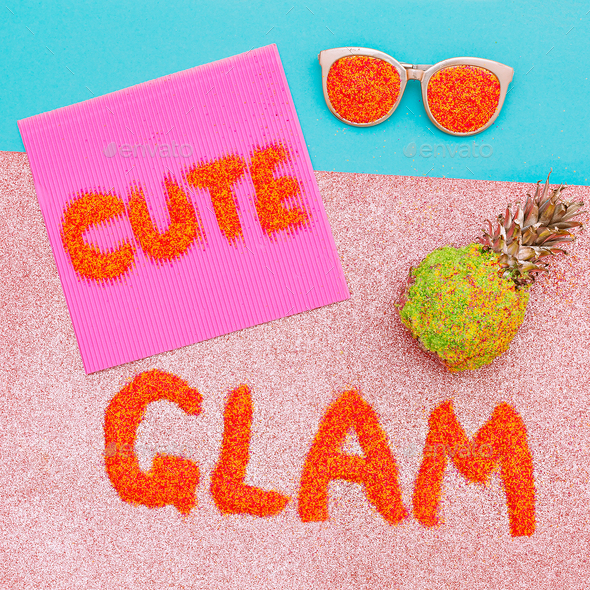 Text of sequins. Cute Glam Art Minimal - Stock Photo - Images