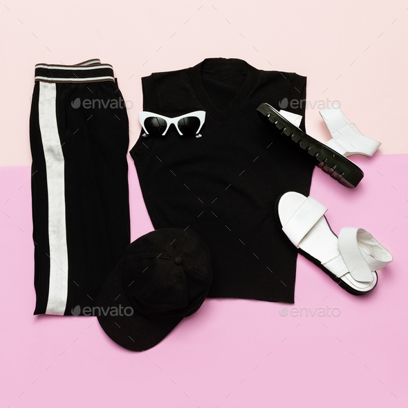 Black Fashion clothing set. For woman. Urban sport casual style - Stock Photo - Images