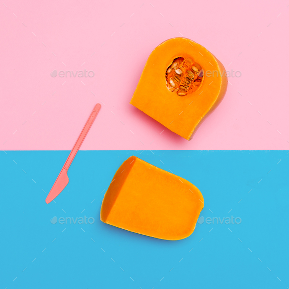 Pumpkin Vegan Minimal art gallery design - Stock Photo - Images