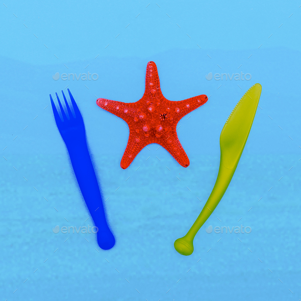 Sea for lunch. Starfish. Beach style. Minimal - Stock Photo - Images