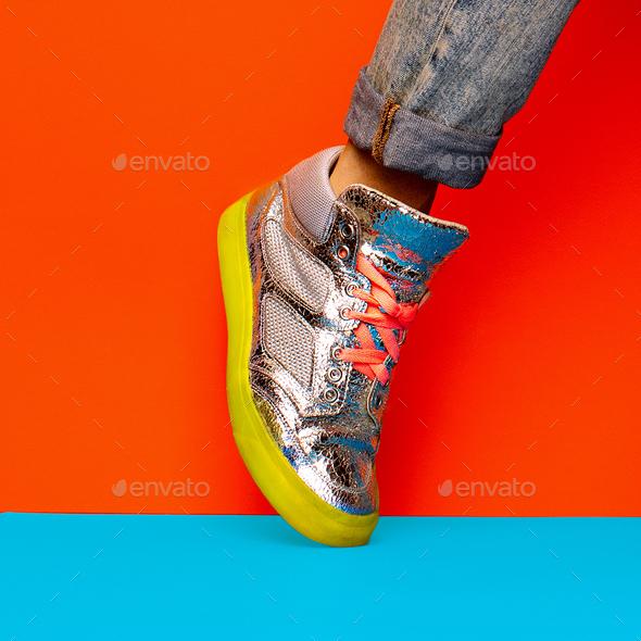 Fashion Sneakers Disco Minimal Style - Stock Photo - Images