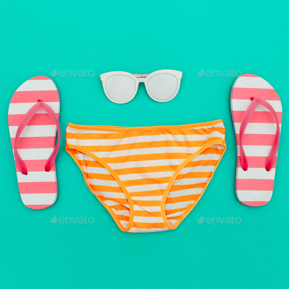 Beach Style. Beach accessories. Minimal design - Stock Photo - Images