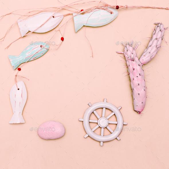 Ocean, beach, sun, vibes. Minimal art gift set - Stock Photo - Images