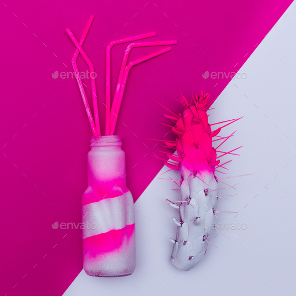 Cocktail and cactus. Minimal art. dangerous mix - Stock Photo - Images