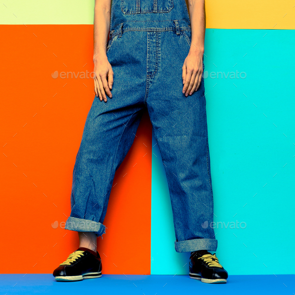 Stylish Jumpsuit. Urban.Keds and Fashion denim clothes Minimal C - Stock Photo - Images