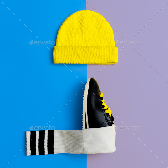 Cap Sneakers Flat Lay - Stock Photo - Images