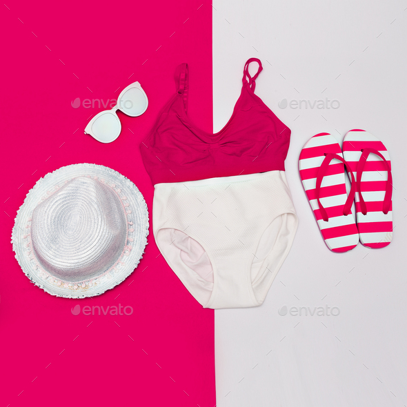 Beach stylish set. Swimsuit and accessories. Minimal art - Stock Photo - Images