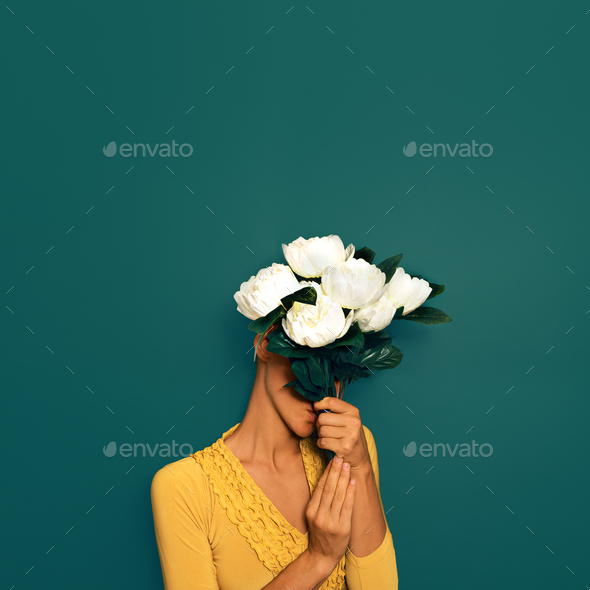 Sensual Lady with a bouquet of peonies. Spring Style - Stock Photo - Images