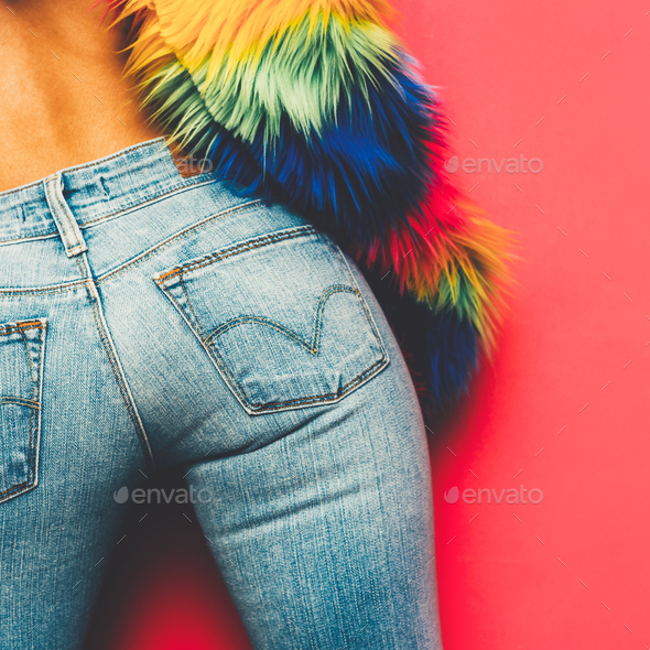 Model Disco Ass Country style fashion accessories. Classic jeans - Stock Photo - Images