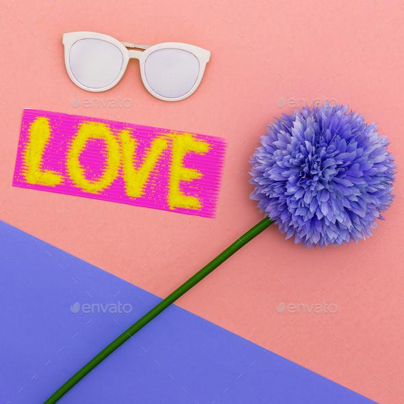 Summer Vibes set Sunglasses Minimal style art - Stock Photo - Images