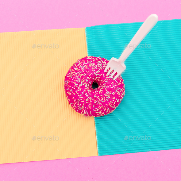 Donuts. Fast food minimal art - Stock Photo - Images
