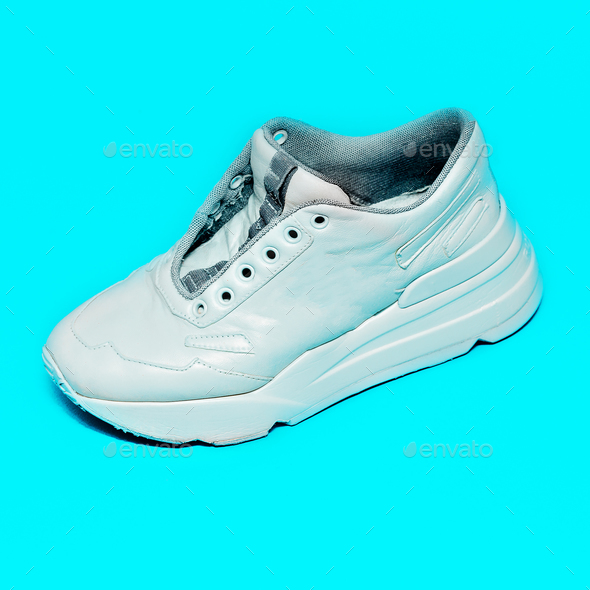 Blue Sneakers on the platform. Art gallery Minimal design - Stock Photo - Images