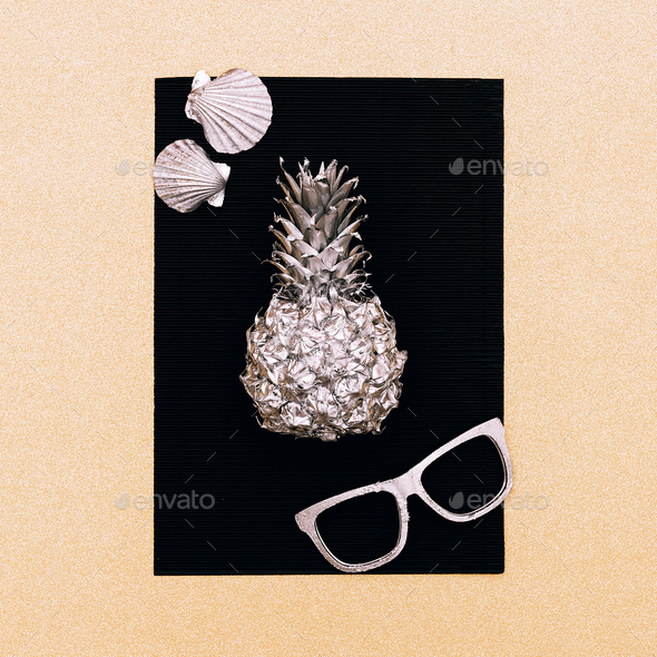 Sunglasses Pineapple Minimal Style - Stock Photo - Images