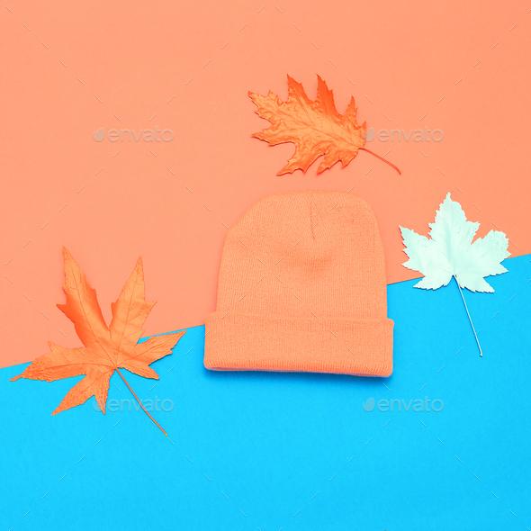 Season Fall Winter fashion accessories cap beanie minimal - Stock Photo - Images