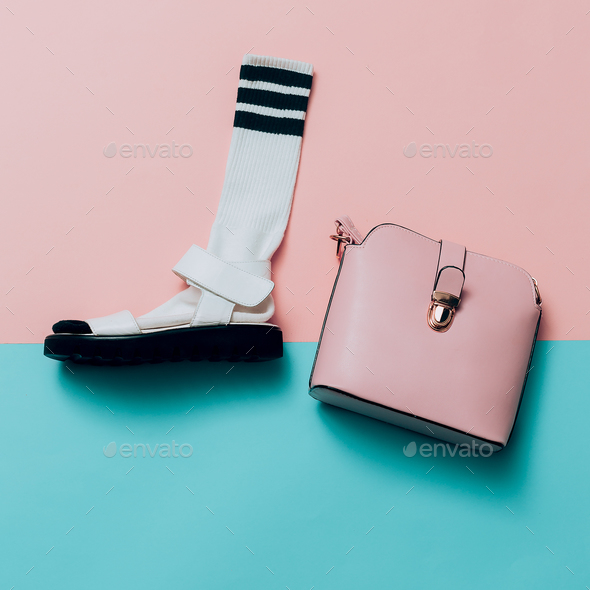 Sandals and socks. Bag. Summer minimal creative. Hipster style T - Stock Photo - Images