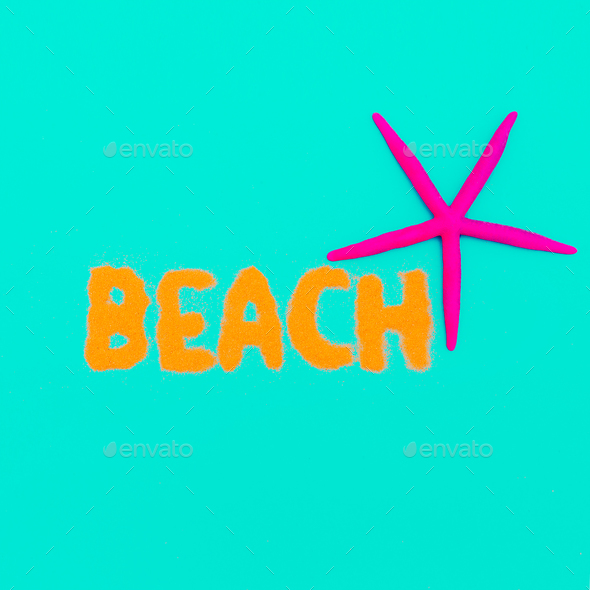 Beach vibes Vacation time minimal art - Stock Photo - Images