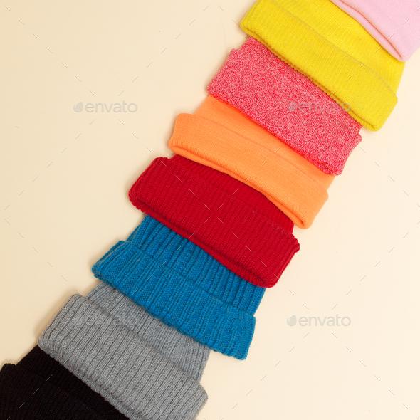 Minimalism style hipster fashion Caps Beanie Set - Stock Photo - Images