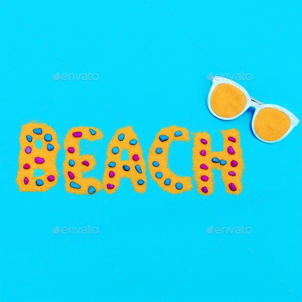 Beach fashion. Accessory Sunglasses Minimal Art - Stock Photo - Images