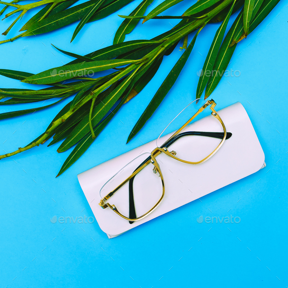 Fashion Glasses. Stylish Eyewear accessory. Flat lay Minimal tre - Stock Photo - Images