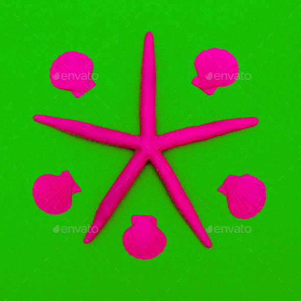 Pink neon starfish and seashells. Minimal design - Stock Photo - Images