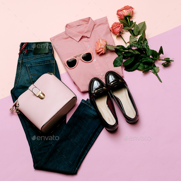 Romantic clothes set. City casual fashion. Spring and Pink. Styl - Stock Photo - Images