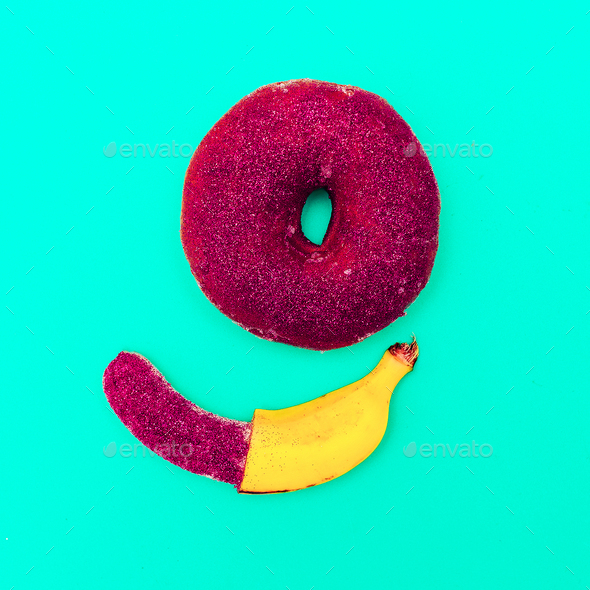 Fashion donuts and banana Minimal Glamour Glitter Close-up - Stock Photo - Images