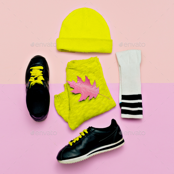 Fashion blogger help. A set of beanie and sneakers. Fashionable - Stock Photo - Images