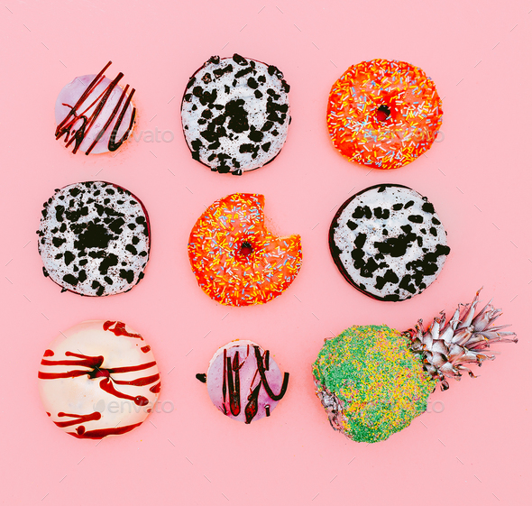Mix donuts and pineapple. Fashion Fast Food minimal art Surreal - Stock Photo - Images