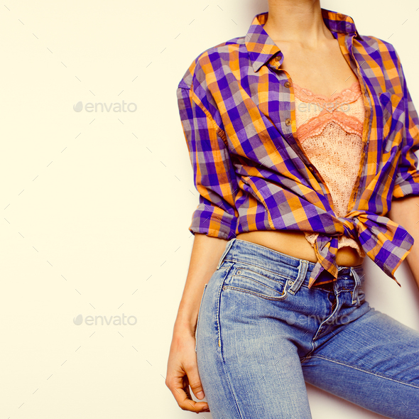 Country style fashion Leto.Top, jewelry, bracelets, classic blue - Stock Photo - Images