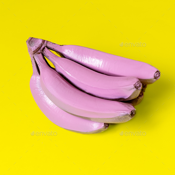 Bananas in pink paint. Surreal minimal art - Stock Photo - Images