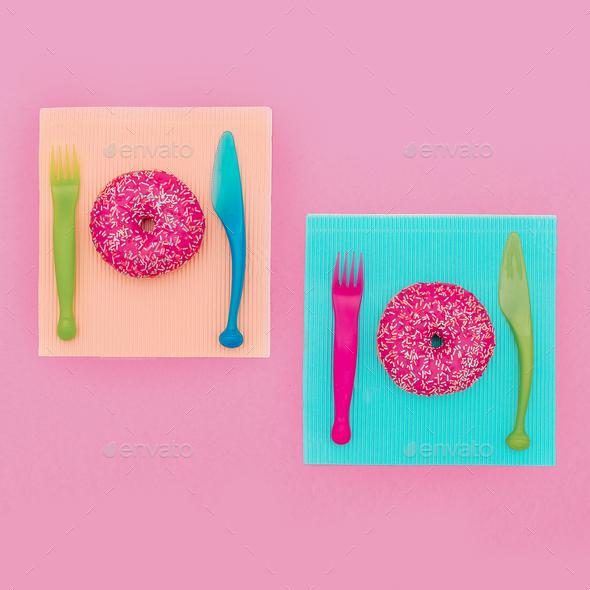 Set Donut Fast food Minimal. Cute fashion art Creative design - Stock Photo - Images