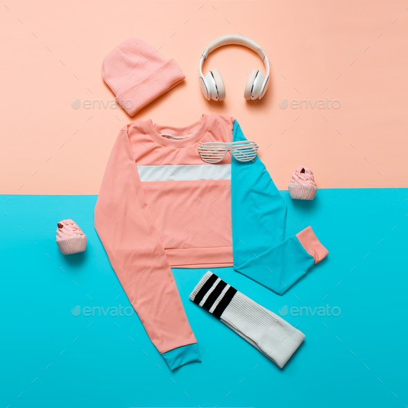 Stylish sports blouse and accessories. Top view. Minimal. Hipste - Stock Photo - Images